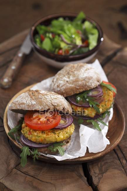 Due hamburger vegetariani — Foto stock