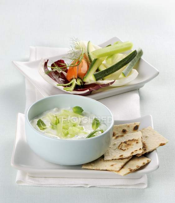 Tzatziki with soy yogurt — Stock Photo