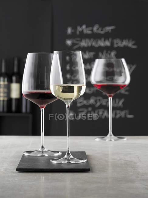Glasses of wine in a bar — Stock Photo