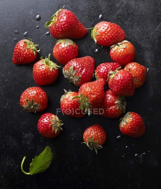 Fragole fresche con foglia — Foto stock