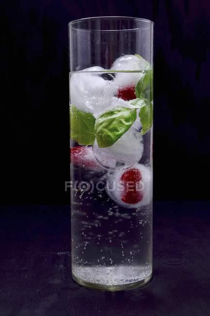 Ice cubes with raspberries — Stock Photo