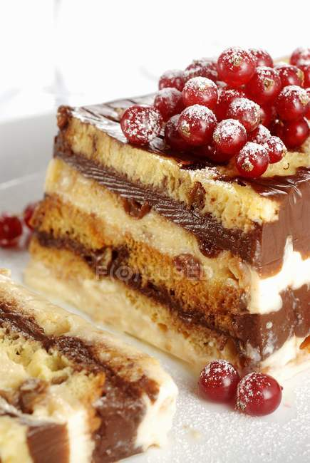 Closeup view of chocolate and vanilla dessert with red currants — Stock Photo