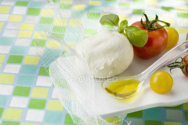 Ingredients for mozzarella with tomatoes — Stock Photo