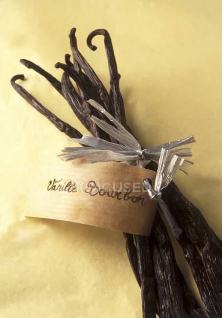Стручки ванили с тегом прилагается — стоковое фото