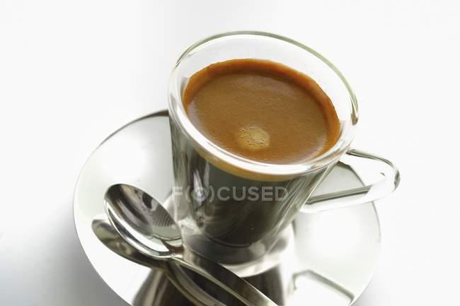 Double espresso in cup — Stock Photo