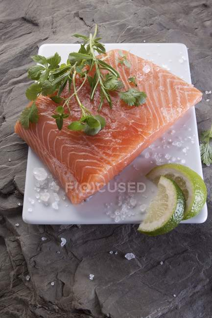 Raw salmon fillet with herbs — Stock Photo