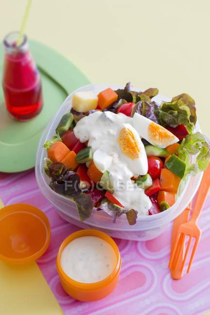 Vegetable salad with sauce and boiled eggs — Stock Photo