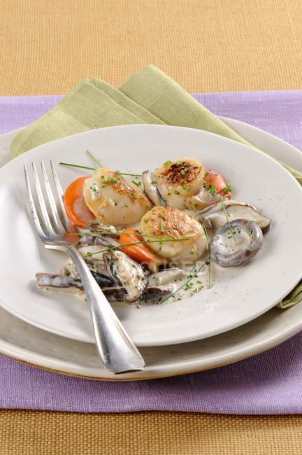 Closeup view of scallops with creamy mushroom sauce — Stock Photo