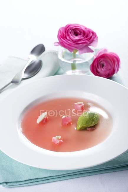 Geléia de ruibarbo com mousse verde — Fotografia de Stock