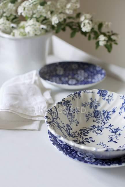 Крупним планом зору синьо-білу посуд і білі квіти навесні — стокове фото