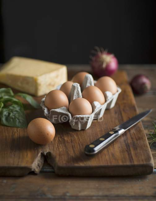 Ingredientes com ovos — Fotografia de Stock