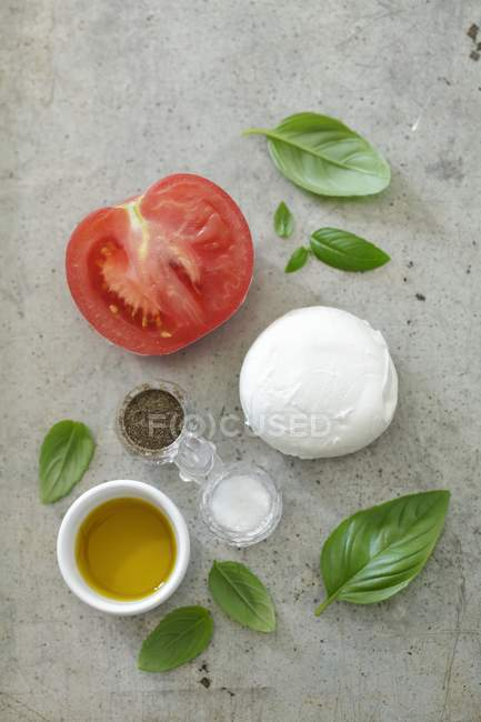 Ingredients for caprese on grey surface — Stock Photo