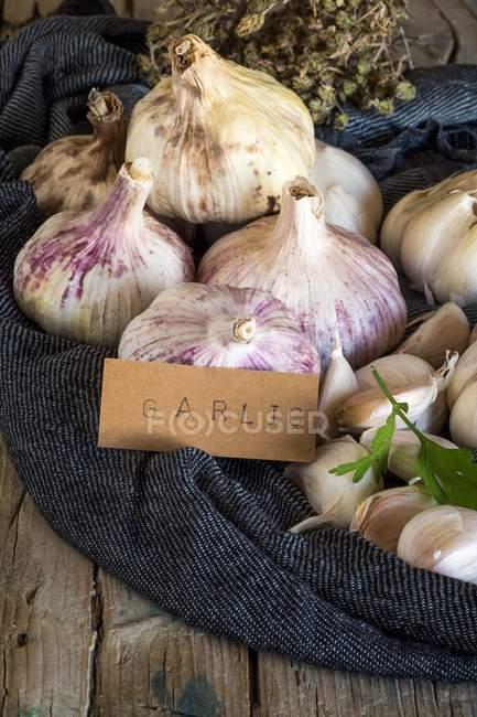 Bulbos de ajo púrpura en la tela - foto de stock