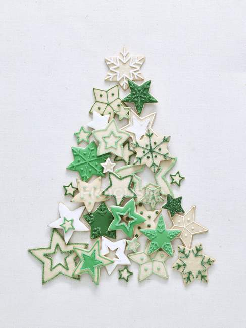 Christmas Star Biscuits Green White Stock Photo 156732846