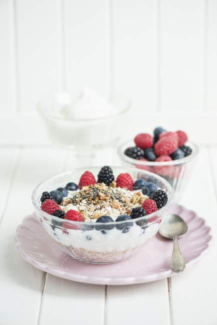 Мюслів, йогуртів та ягоди — стокове фото