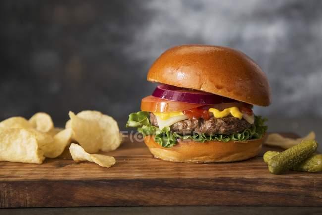 Cheeseburger, cornichons et chips — Photo de stock