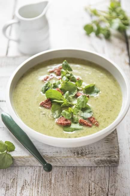 Watercress soup with chorizo sausage — Stock Photo