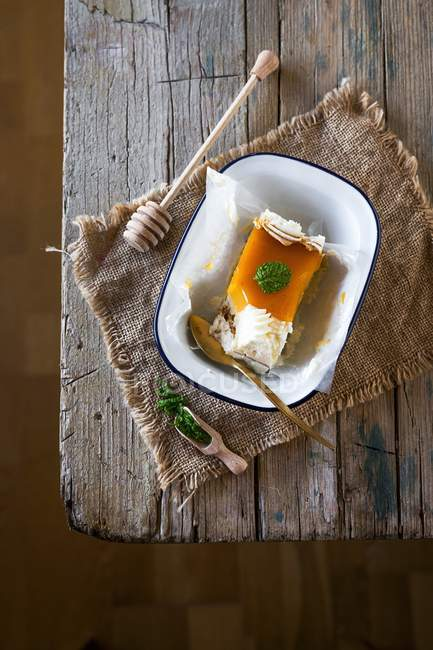 Slice of toasted egg yolk cake — Stock Photo