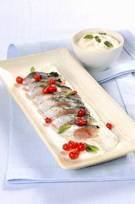 In Scheiben geschnitten mariniertes Makrele — Stockfoto