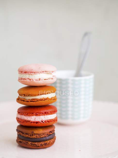 Pile of colorful macarons — Stock Photo