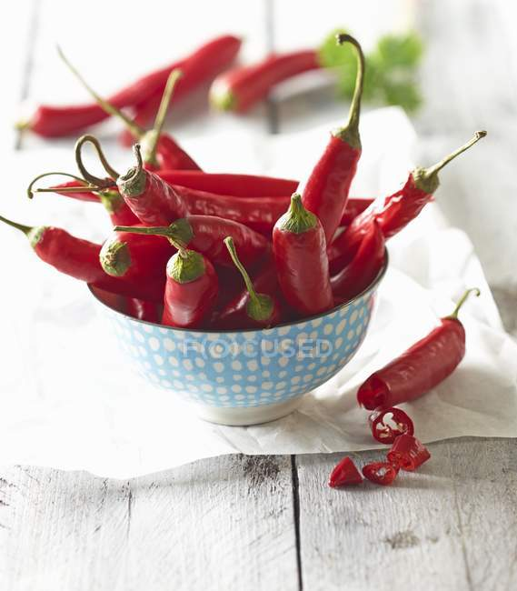 Red chili peppers in a porcelain bowl — Stock Photo