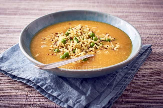 Pumpkin soup with rice — Stock Photo