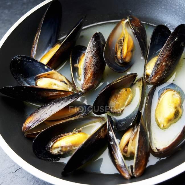 Vue rapprochée des moules ouvertes en sauce — Photo de stock