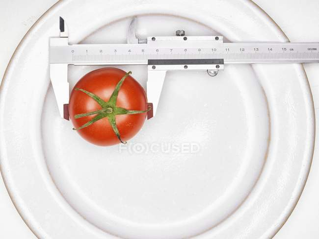 Tomato with a precision ruler — Stock Photo