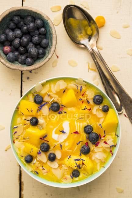 Bol avec mangues, muesli et bleuets — Photo de stock