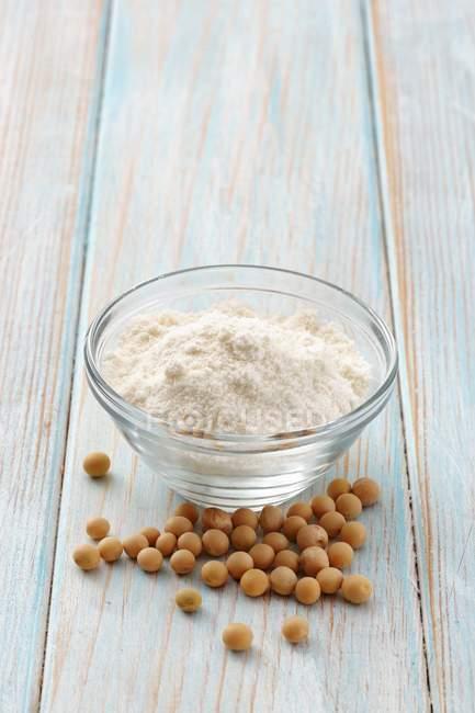 Harina de soja y frijoles - foto de stock