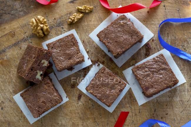 Brownies di dado che serve — Foto stock