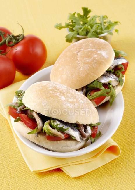 Panini con alici marinate — Foto stock