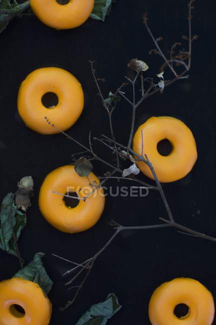 Pumpkin doughnuts for Halloween — Stock Photo