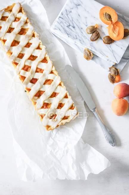Vista superiore della crostata di albicocche grata su carta — Foto stock