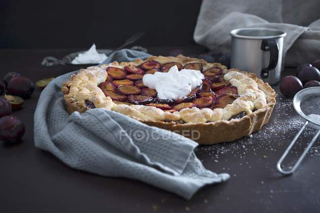 Plum cake with vegan soya — Stock Photo