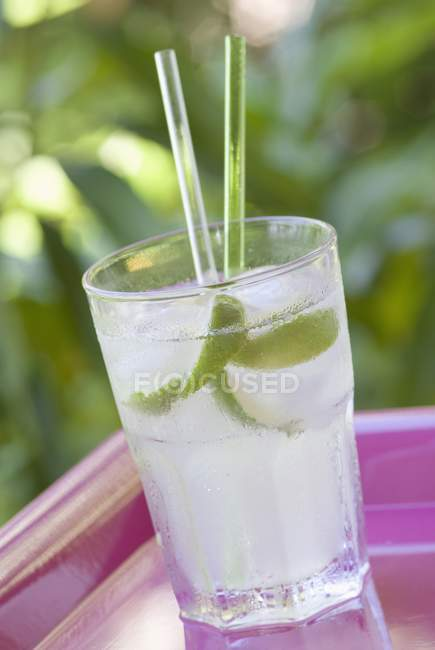 Cocktail in glass with ice — Stock Photo