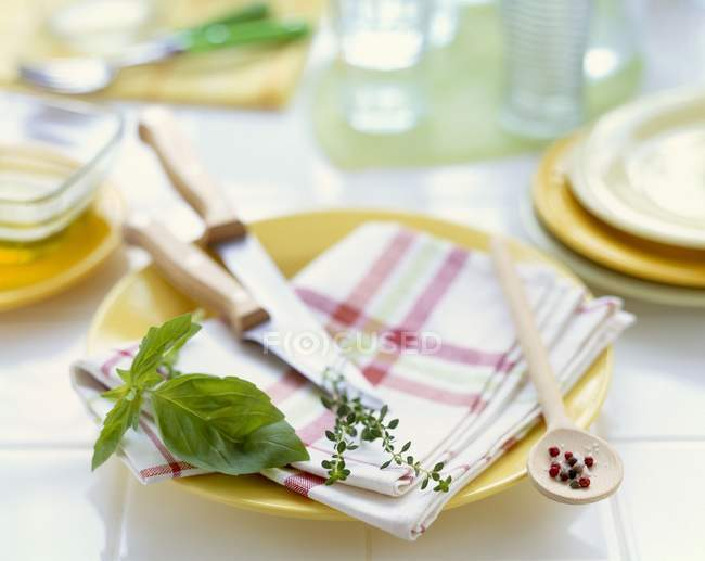Closeup view of herbs with cutlery and crockery — Stock Photo