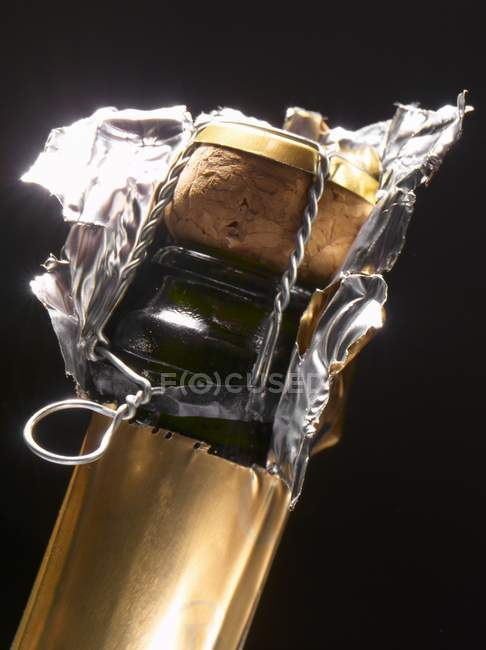 Neck of a champagne bottle — Stock Photo