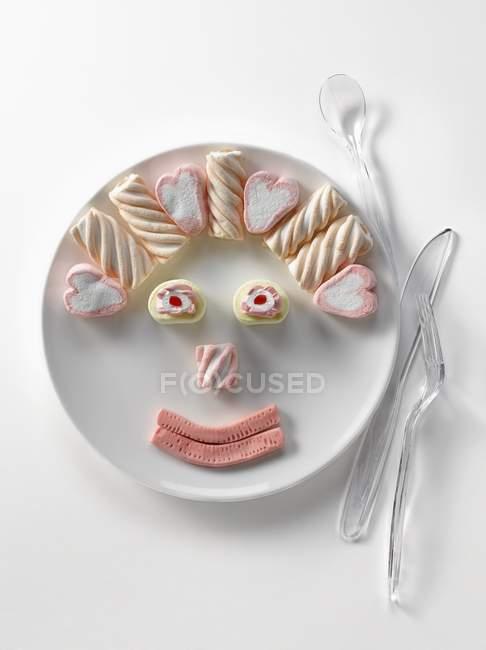 Placa de marshmallows em forma — Fotografia de Stock