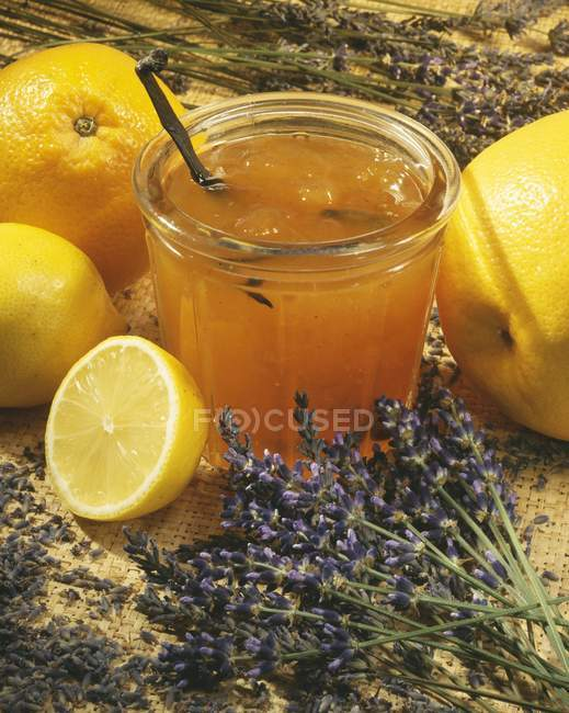 Closeup view of orange and lavender marmalade — Stock Photo
