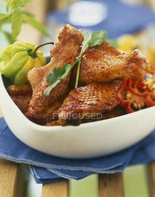 Gebratenes scharfes Hühnchen — Stockfoto