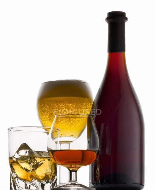 Different alcoholic drinks in glasses — Stock Photo