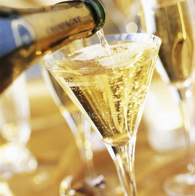 Полный стакан шампанского — стоковое фото