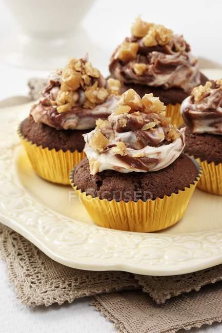 Several Peanut cupcakes — Stock Photo