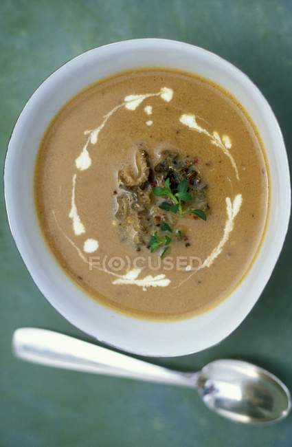 Cream of morel mushrooms soup with thyme — Stock Photo