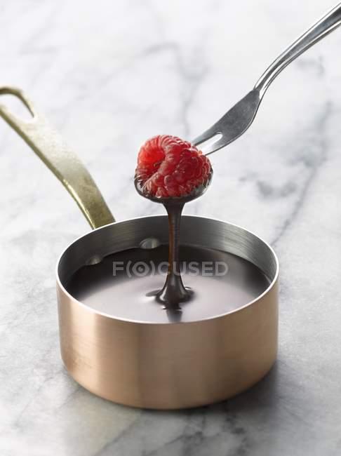 Занурення в розтоплений шоколад малини — стокове фото