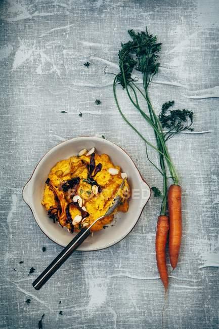 Пюре из тыквы и моркови — стоковое фото
