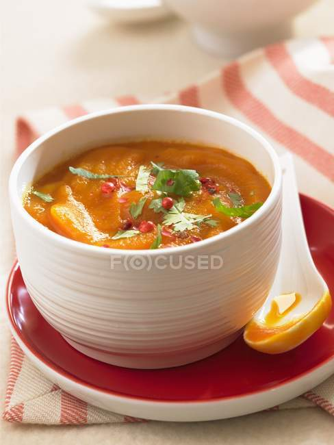 Carrot soup with herbs in bowl — Stock Photo