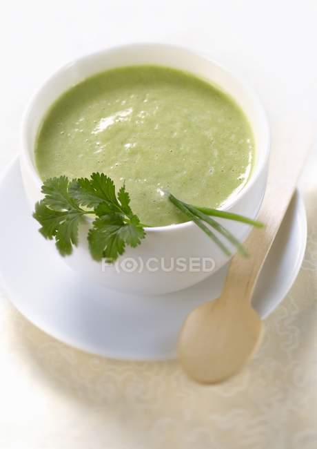Chilled cream of lettuce and herb soup — Stock Photo