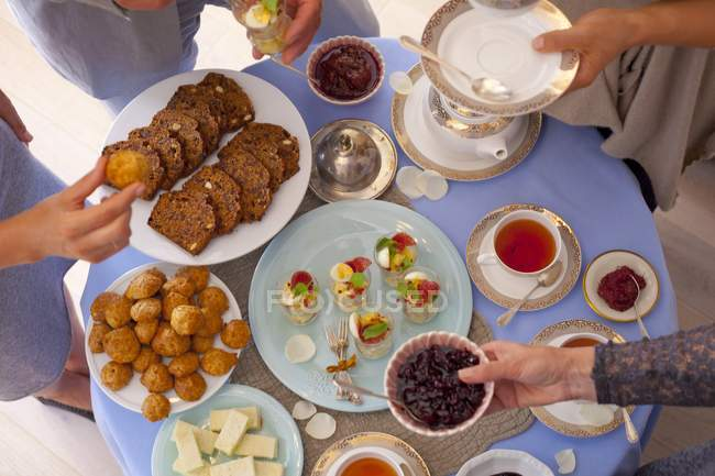 party table with snacks stock photo 157134226